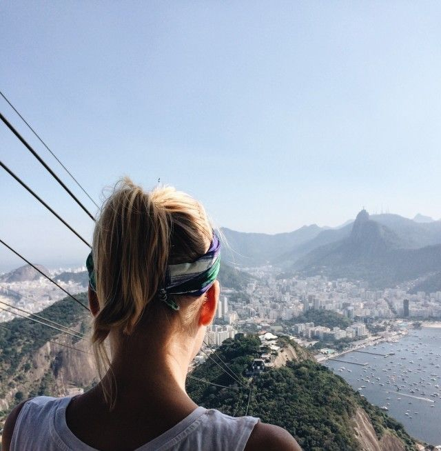 Girl admiring the view of mountains in Brazil