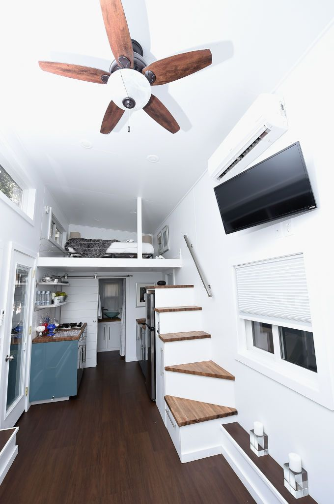 "An interior view of the Tiny House during Booking.com's ""Tiny House With Big Personality"" Curated By Kevin Hart"