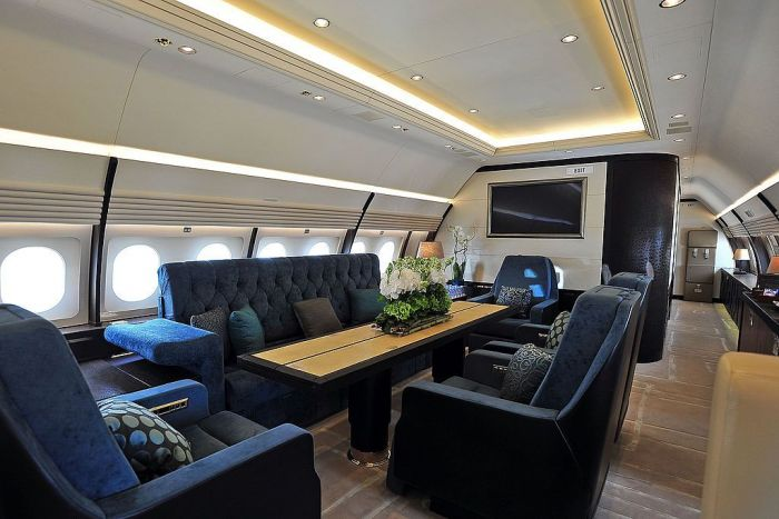 The interior of an Airbus corporate jet ACJ320