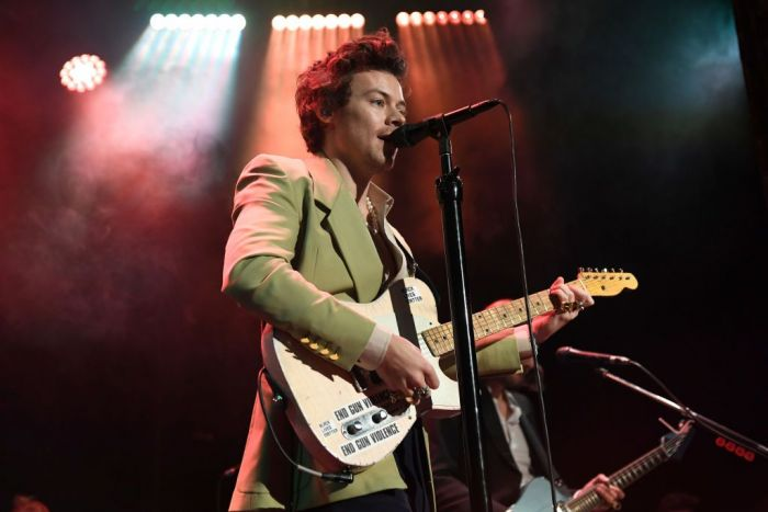 Harry Styles performs live on stage at iHeartRadio Secret Session with Harry Styles at the Bowery Ballroom on February 29, 2020