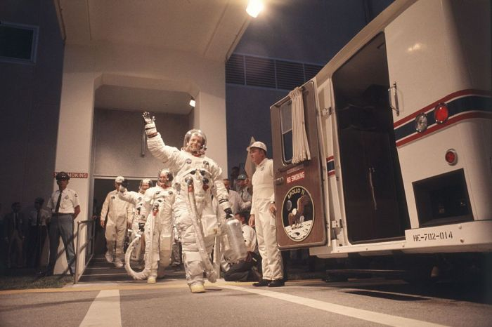 Neil Armstrong And The Crew Of The Apollo 11 At The Time Of Departure