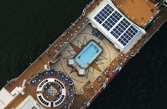 An aerial view of a luxurious cruise ship