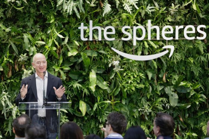Chief Executive Officer of Amazon, Jeff Bezos, speaks at the grand opening of the Amazon Spheres, in Seattle, Washington on January 29, 2018