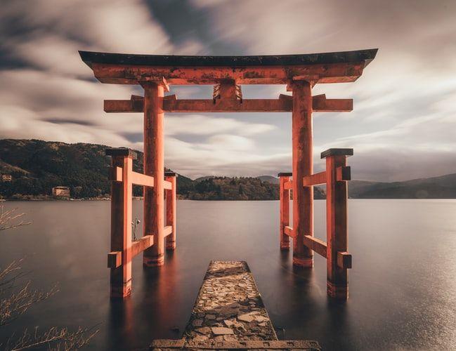 A Torri gate standing before a lake