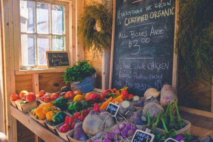 Variety of vegetables in farmers market in Ann Arbor