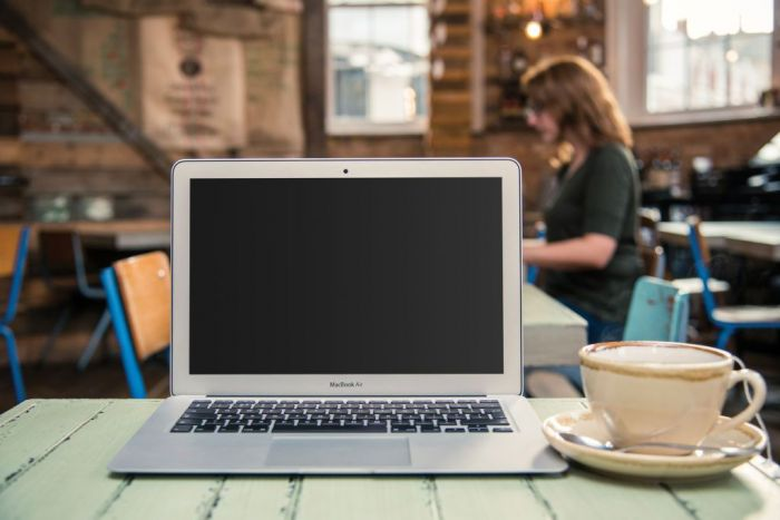 An Apple MacBook Air laptop computer photographed on the table of a coffee shop, taken on November 3, 2016