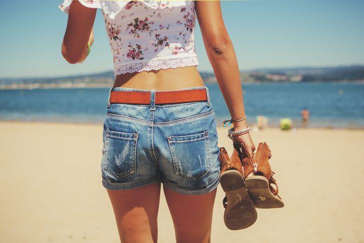 woman in denim shorts