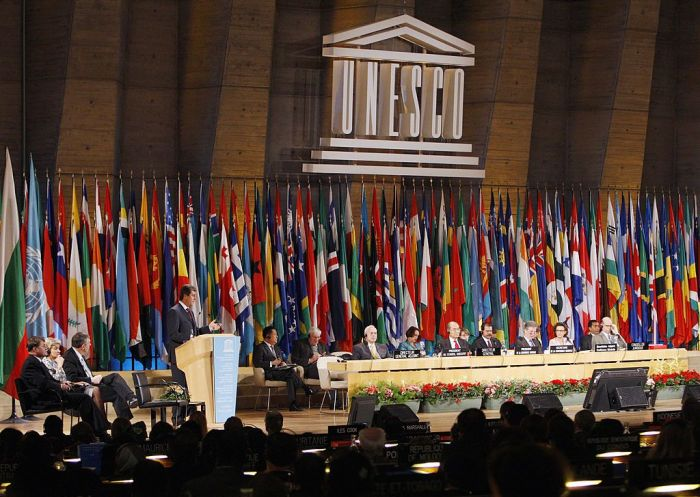 Bulgarian President Georgi Parvanov speaks, 16 October 2007 at the UNESCO in Paris, during the 34th session of the General Conference.