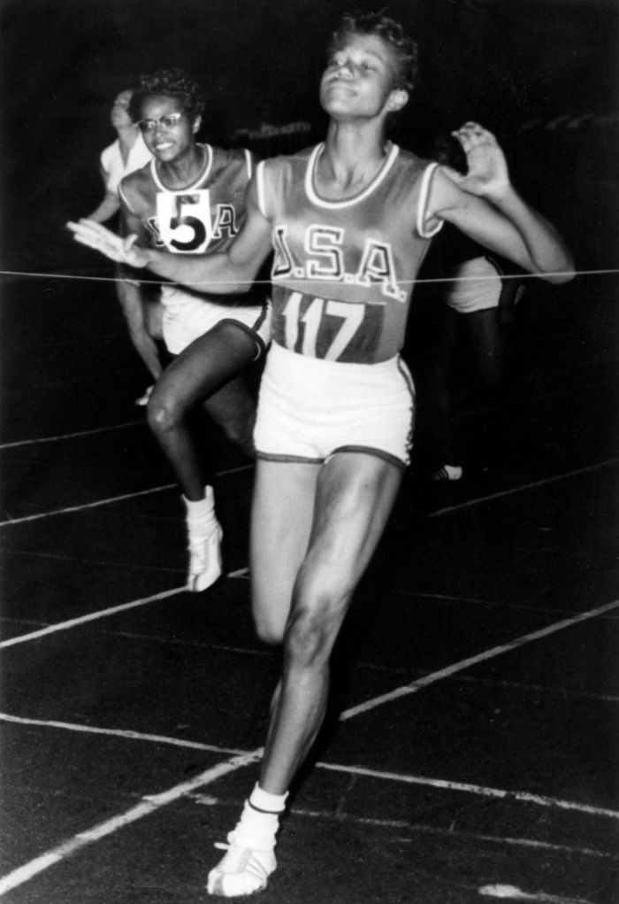 American athlete Wilma Rudolph at the finish of a race at the Olympic stadium in Amsterdam