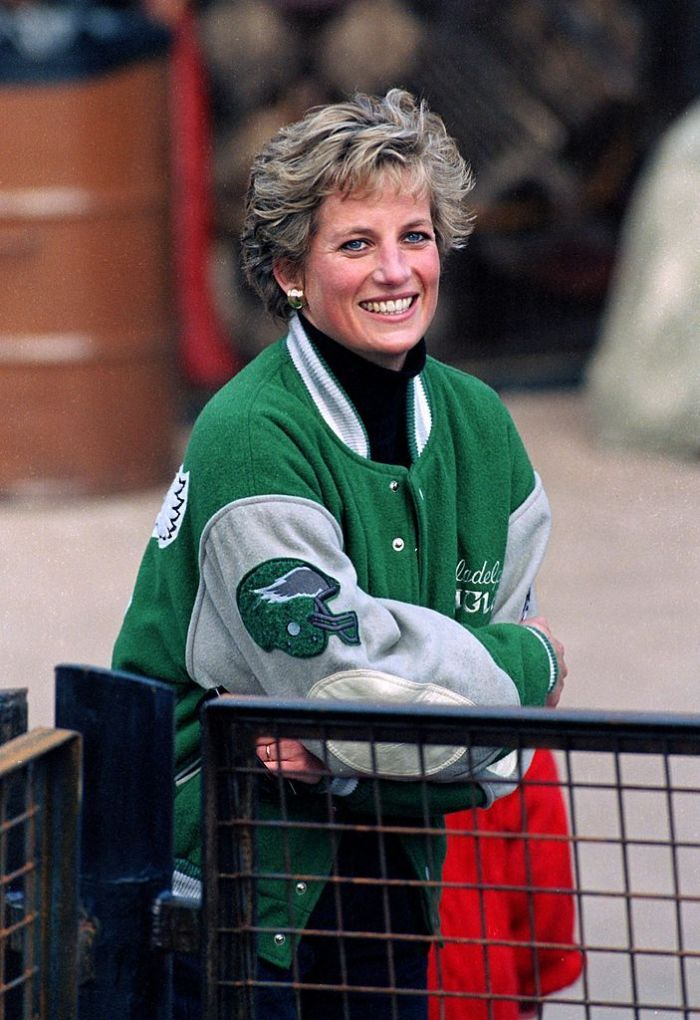 Diana, The Princess Of Wales, wearing a green sports jacket at Alton Towers Theme Park