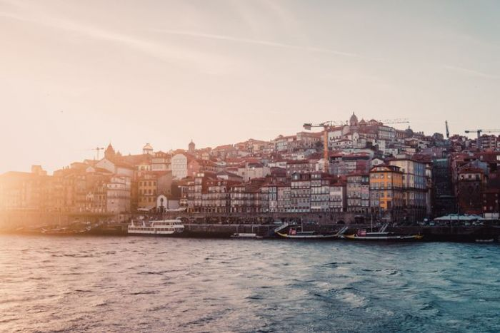 View of the old city of Porto in Portugal during sunset