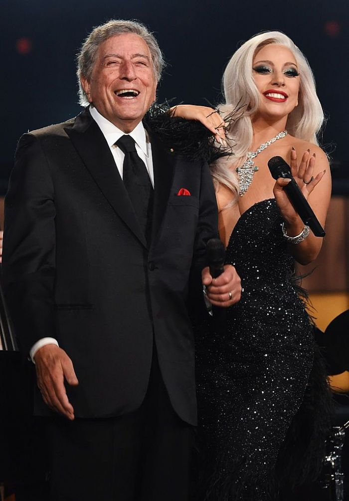 Tony Bennett and Lady Gaga performing on stage during The 57th Annual GRAMMY Awards