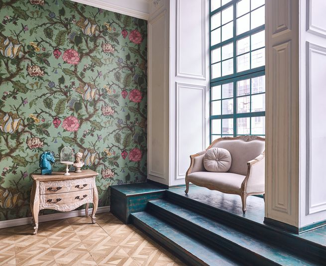 Room with window, wallpaper and armchair