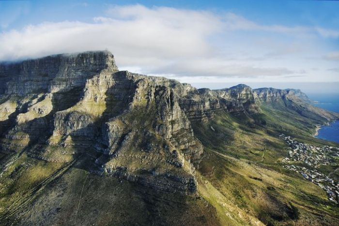aerial view of Table Mountain in Cape Town, South Africa