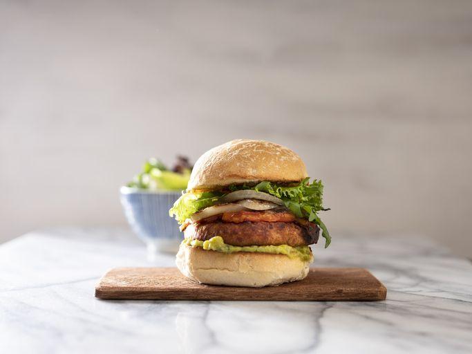 burger on a chopping board