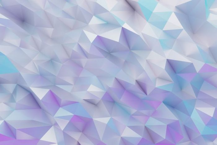 White and lilac polygonal geometric background in holographic colors